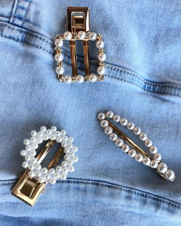 Perliniai plaukų klipsai - segtukai
