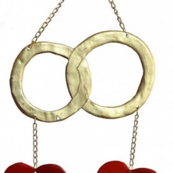 """Širdžių spynelė """"Aukso žiedai"""""""