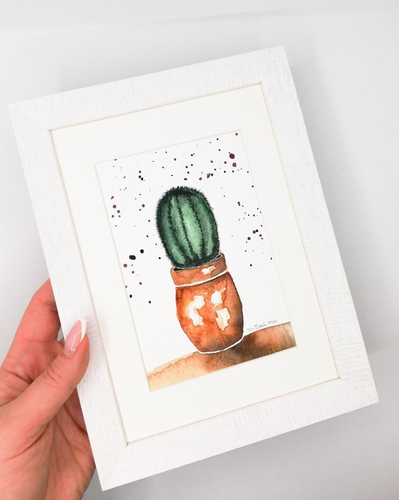 Kaktusas. Originalus akvarelinis paveikslas. Rankų darbo. 20-02