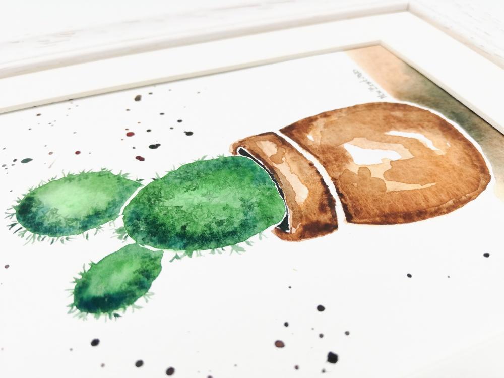 Kaktusas. Originalus akvarelinis paveikslas. Rankų darbo. 20-04
