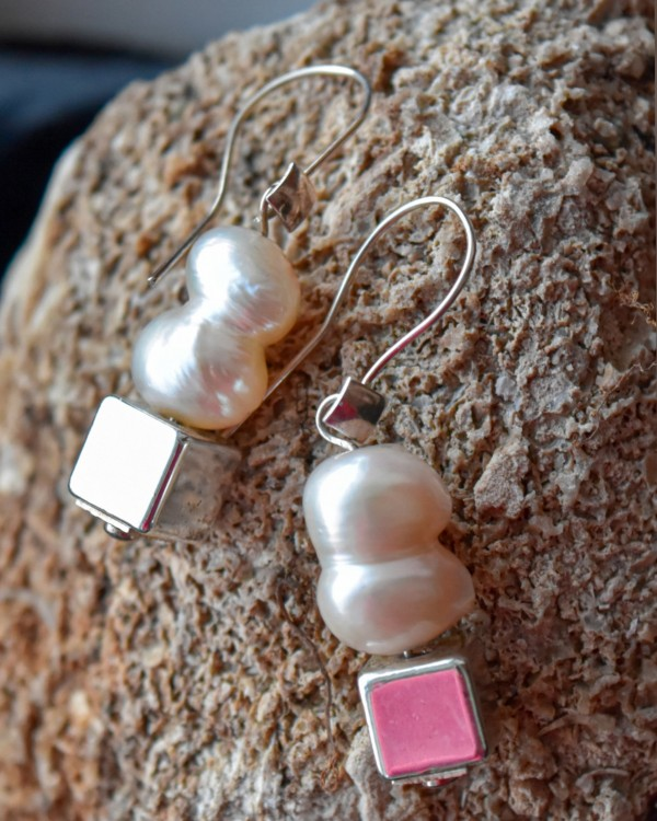 """Natūralių perlų ir sidabro auskarai """"Dvynukai"""""""