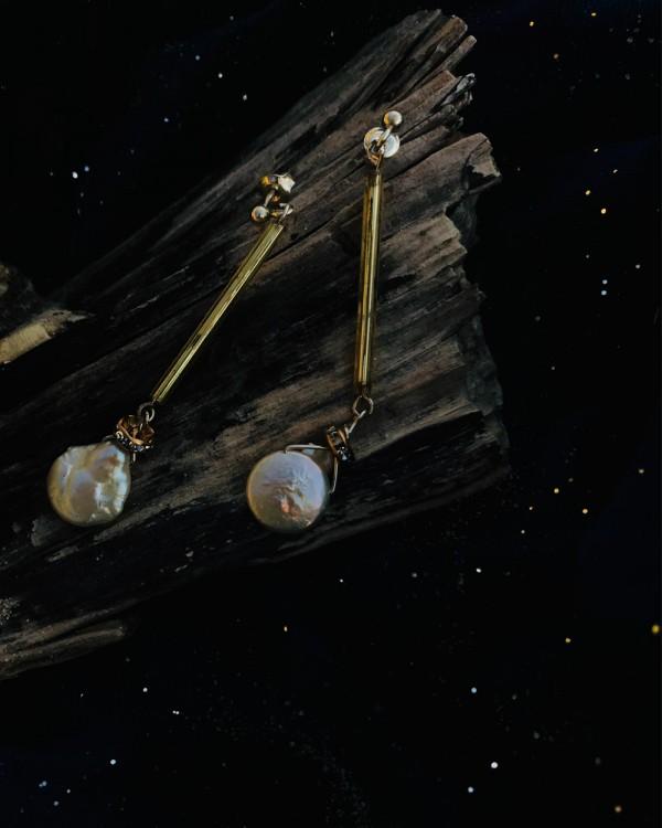 """Sidabro perlų auskarai """"Perlai ant stiklo"""""""