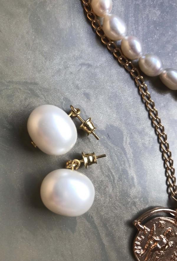 """Paauksuoti sidabriniai perlų auskarai hoopsai """"Mėnuliai ausyse"""""""