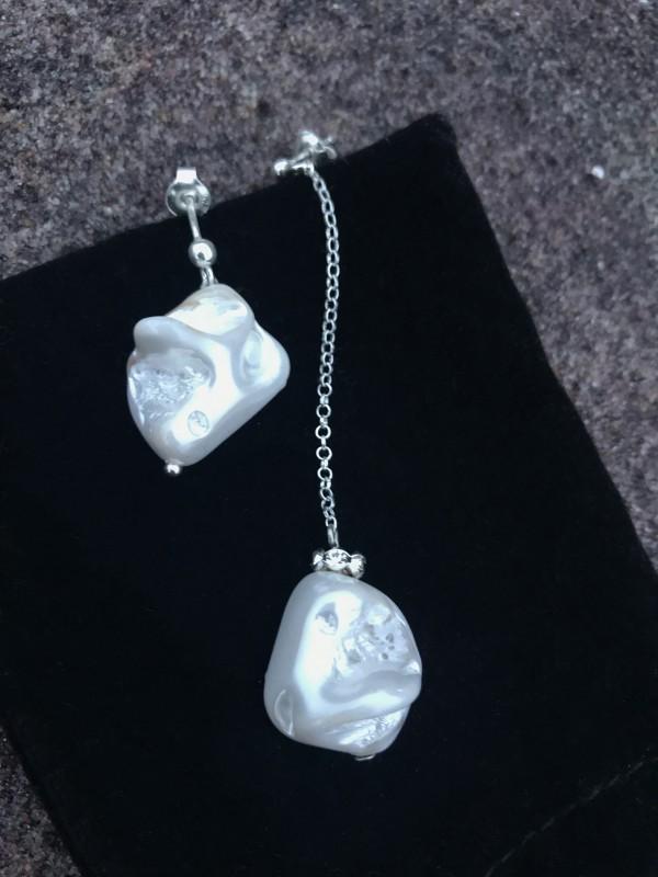 """sidabro ir perlų auskarai """"du ilgiai"""""""