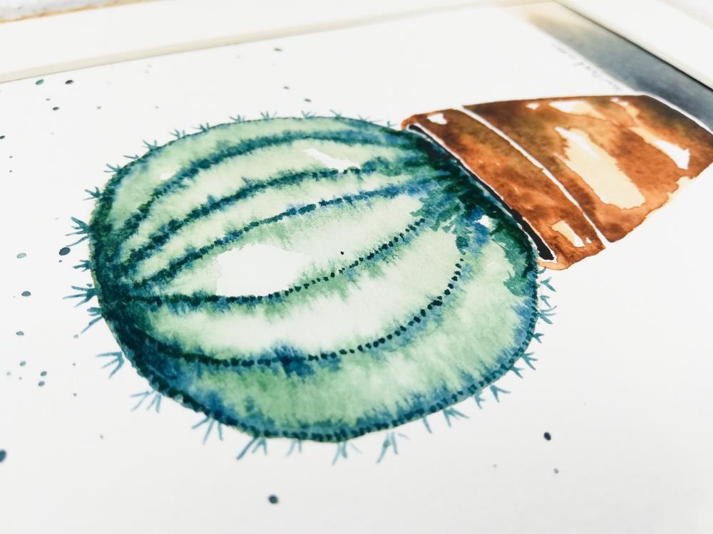 Kaktusas. Originalus akvarelinis paveikslas. Rankų darbo. 20-03