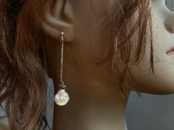 """Sidabro ir perlų auskarai """"Čipsai ant stiklo"""""""