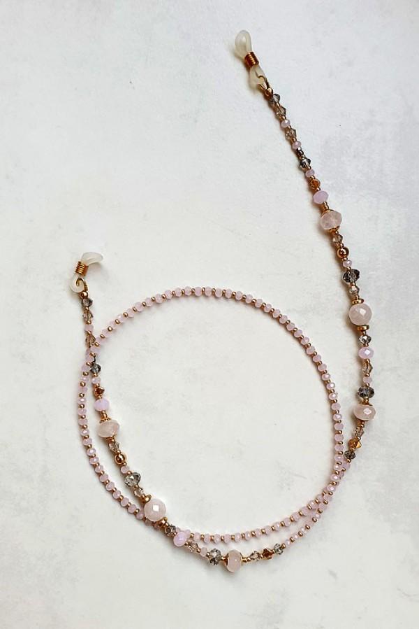 Rožinio kvarco akinių virvelė